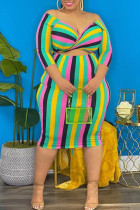 Colour Fashion Casual Plus Size Striped Print Hollowed Out V Neck Long Sleeve  Dresses