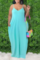 Cyan Sexy Solid Split Joint Spaghetti Strap Straight Plus Size Dresses