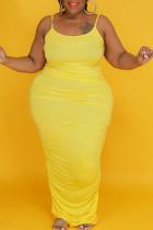 Yellow Sexy Solid Split Joint Fold Spaghetti Strap Sling Dress Plus Size Dresses