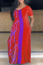 Red Casual Print Split Joint O Neck Straight Plus Size Dresses