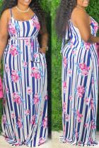 Stripe Sexy Print Bandage Split Joint Spaghetti Strap Sling Dress Plus Size Dresses