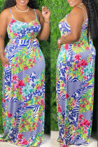 Turquoise Sexy Print Bandage Split Joint Spaghetti Strap Sling Dress Plus Size Dresses
