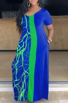 Blue Casual Print Split Joint O Neck Straight Plus Size Dresses