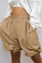 Khaki Casual Solid Split Joint Straight Mid Waist Lantern Solid Color Bottoms