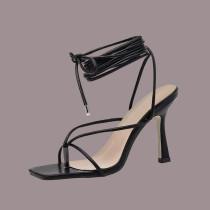 Black Sexy Street Frenulum Strap Design Square Out Door Shoes