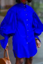 Blue Fashion Elegant Solid Split Joint Fold Turndown Collar Tops