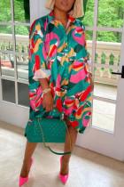 Multi-color Fashion Casual Print Basic Turndown Collar Long Sleeve Dresses