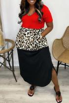 Red Fashion Casual Patchwork Slit V Neck Short Sleeve Dress