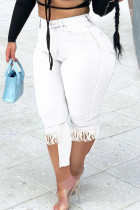 White Fashion Casual Solid Tassel Split Joint Plus Size Jeans