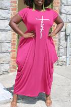 Rose Red Casual Print Split Joint Asymmetrical O Neck Short Sleeve Dress Plus Size Dresses