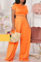 Orange Fashion Casual Solid Basic O Neck Short Sleeve Two Pieces