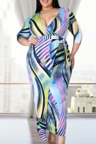 Multicolor Fashion Casual Plus Size Print Basic V Neck Dress