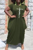 Army Green Casual Print Split Joint Asymmetrical O Neck Short Sleeve Dress Plus Size Dresses