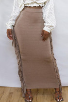 Champagne Fashion Casual Solid Tassel Regular High Waist Skirt