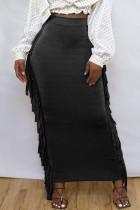 Black Fashion Casual Solid Tassel Regular High Waist Skirt
