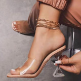 Apricot Fashion Casual Split Joint Fish Mouth Shoes