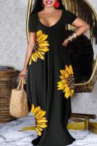 Black Casual Print Split Joint V Neck Short Sleeve Dress Dresses