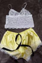 Golden Yellow Sexy Fashion Lace Suspender Pajamas