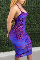 Dark Purple Sexy Print Split Joint Spaghetti Strap Pencil Skirt Dresses
