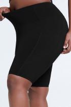 Black Sportswear Solid Split Joint Plus Size