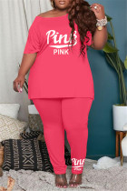 Rose Red Fashion Casual Letter Print Basic O Neck Plus Size Two Pieces