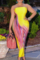 Yellow Casual Print Split Joint Strapless Sheath Plus Size Dresses