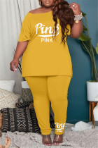 Yellow Fashion Casual Letter Print Basic O Neck Plus Size Two Pieces