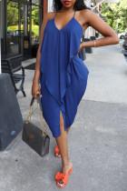 Deep Blue Sexy Solid Split Joint Backless Spaghetti Strap Irregular Dress
