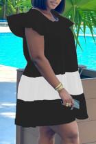 Black Casual Patchwork Flounce O Neck Short Sleeve Dress