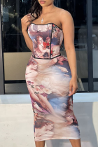 Apricot Sexy Print Split Joint Strapless Sleeveless Two Pieces