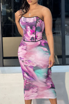 Pink Sexy Print Split Joint Strapless Sleeveless Two Pieces