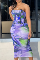Blue Sexy Print Split Joint Strapless Sleeveless Two Pieces