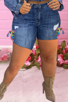 Deep Blue Casual Patchwork Ripped Skinny Mid Waist Pencil Patchwork Plus Size Denim Shorts