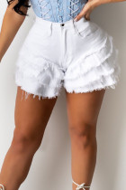 White Street Solid Tassel Split Joint Flounce Loose High Waist Type A Solid Color Plus Size Denim Shorts
