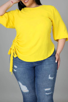 Yellow Fashion Casual Solid Basic O Neck Plus Size Tops