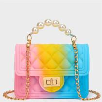 Powder Blue Fashion Casual Gradual Change Chains Pearl Messenger Bag