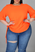 Orange Fashion Casual Solid Basic O Neck Plus Size Tops