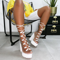 White Sexy Street Split Joint Frenulum Opend Out Door Shoes