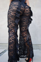Black Fashion Sexy Solid See-through Plus Size Trousers