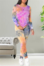 Fuchsia Fashion Casual Print Tie Dye Basic O Neck Long Sleeve Two Pieces