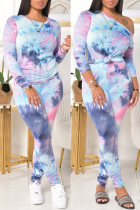 Blue Fashion Casual Print Tie Dye Basic O Neck Long Sleeve Two Pieces