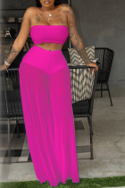 Rose Red Sexy Solid Mesh Strapless Sleeveless Two Pieces