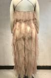 White Sexy Solid See-through Mesh Spaghetti Strap Mesh Dress Dresses