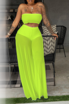 Fluorescent Green Sexy Solid Mesh Strapless Sleeveless Two Pieces