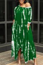 Green British Style Print Split Joint Asymmetrical O Neck Irregular Dress Dresses