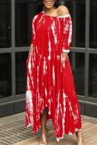 Red British Style Print Split Joint Asymmetrical O Neck Irregular Dress Dresses