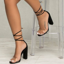 Black Sexy Street Hollowed Out Split Joint Opend Out Door Shoes