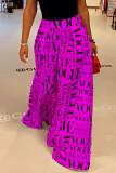 Rose Purple College Print Split Joint Loose High Waist Wide Leg Full Print Bottoms