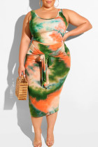 Black Green Fashion Sexy Print Bandage Two Piece Suits Plus Size Two Pieces