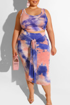 Blue Sexy Print Bandage Two Piece Suits O Neck Plus Size Two Pieces